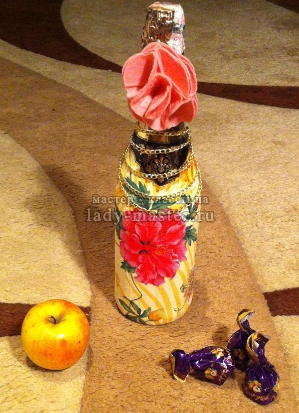 бутылка в технике декупаж, фото