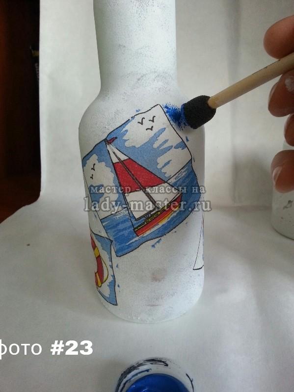 Декупаж бутылки в морском стиле, фото