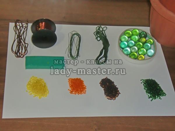 материалы и инструменты для изготовления бархатцев, фото