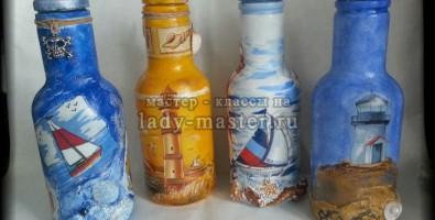 Бутылка в морском стиле в технике декупаж