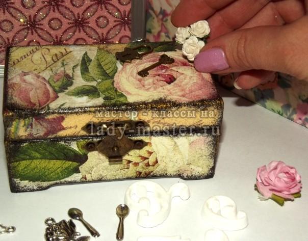 Винтажная шкатулка своими руками, декупаж, фото