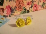 Серьги — розочки из полимерной глины своими рками