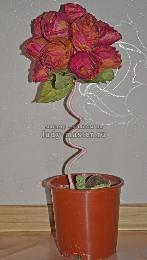 Топиарий из засушенных роз, финальное фото