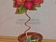 Топиарий из засушенных роз своими руками