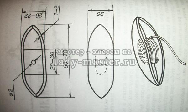 схема челнока для плетения фриволите, фото