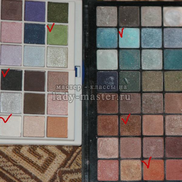 палитра теней, используемых в макияже