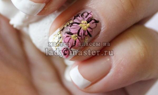 французский маникюр с цветами, фото