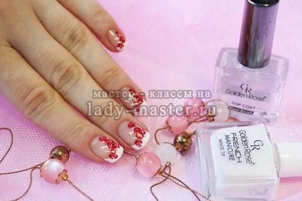 ярко розовые розы, маникюр, фото