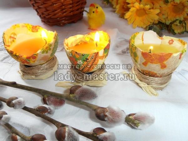Пасхальные свечи из яичной скорлупы, фото