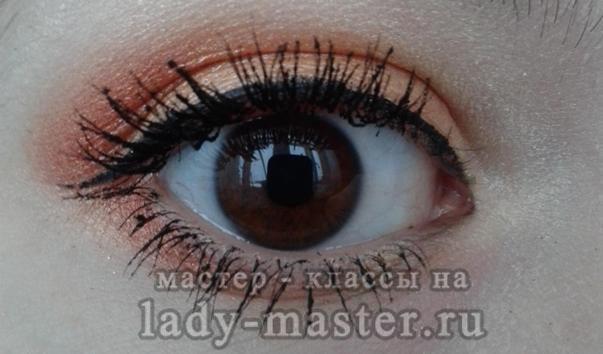 оранжевый макияж для карих глаз, фото