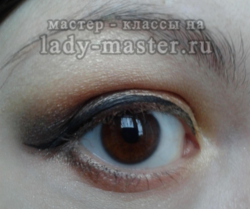 вечерний макияж в коричневых тонах для карих глаз, фото