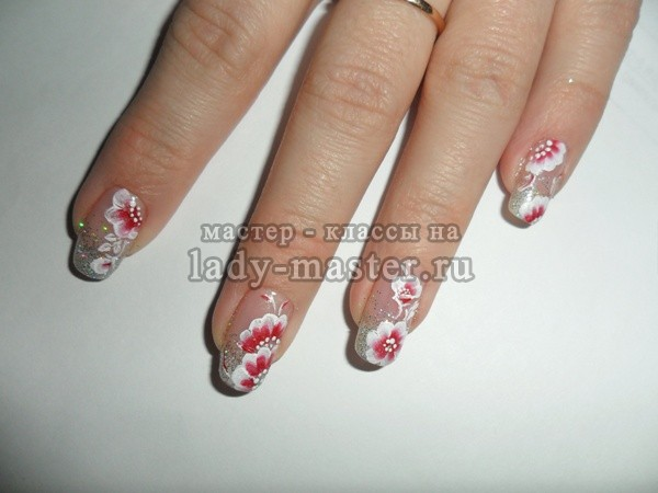 простая китайская роспись на ногтях