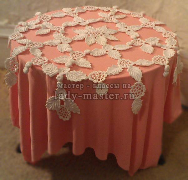 воздушная скатерть (салфетка) крючком из цветочных мотивов, фото