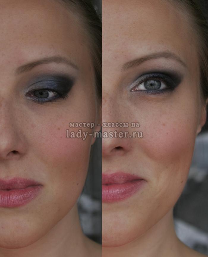 Вечерний дымчатый макияж для серых глаз влажным способом, фото