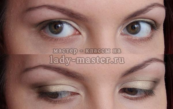 Легкий макияж с золотистыми тенями для серых глаз, фото