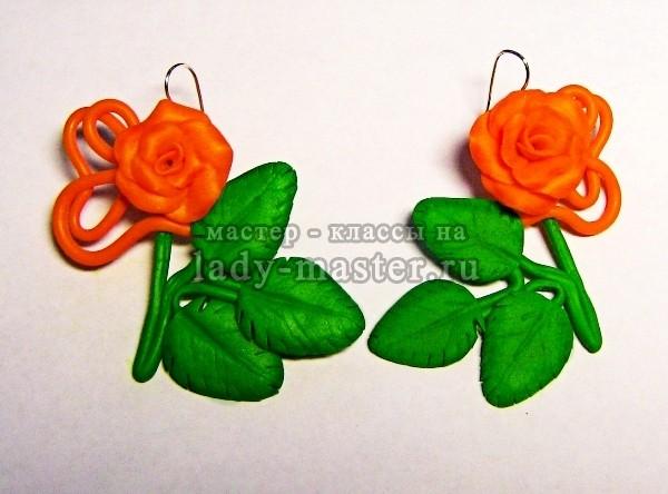 серьги - розы из полимерной глины готовы, фото