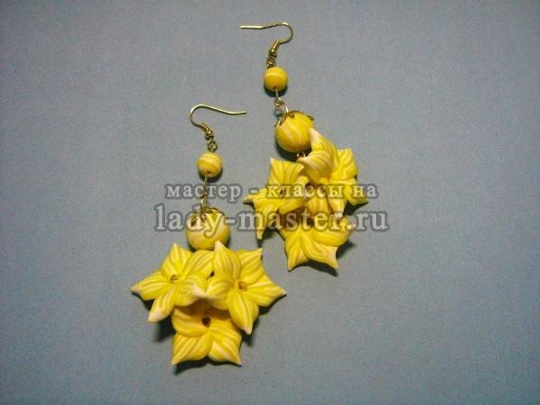 Осенние серьги с желтыми цветами из полимерной глины, мастер - класс