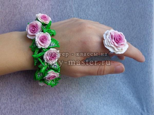 браслет и кольцо с розами из полимерной глины, фото