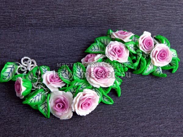 браслет розы из полимерной глины, фото
