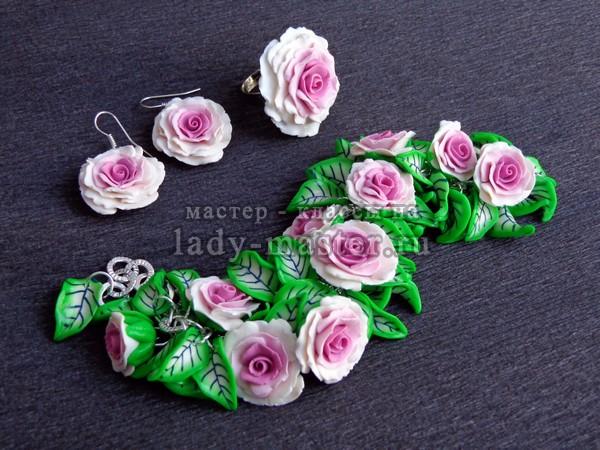 Розы из полимерной глины с переходом цвета, фото
