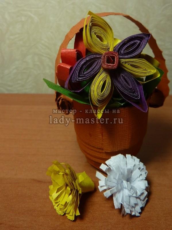 квиллинг цветы в корзинке, фото