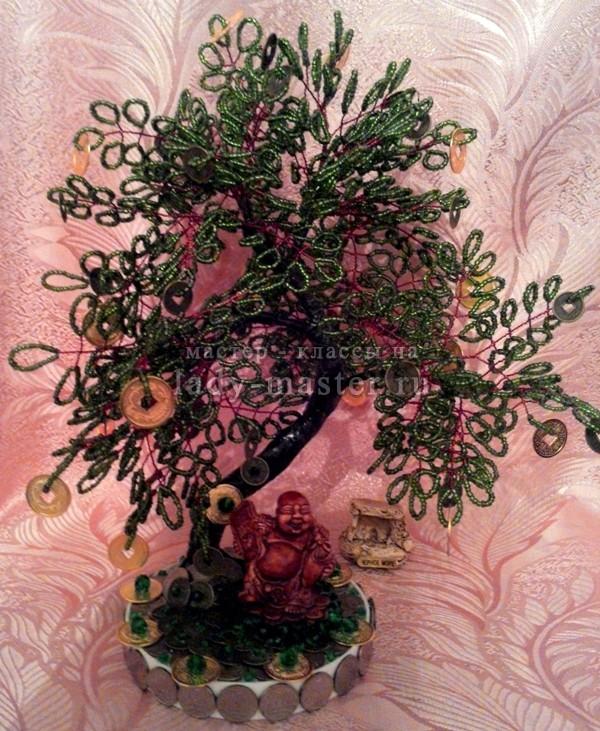 Денежное дерево с фигуркой бога Хотея своими руками, фото