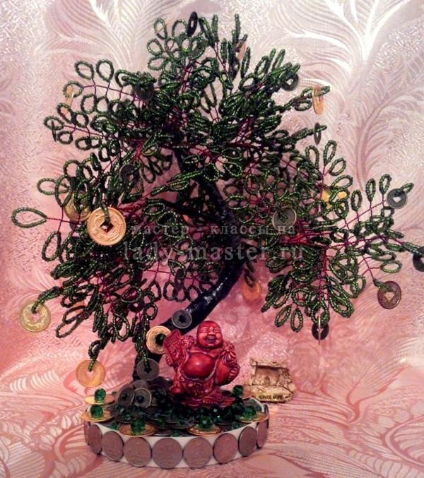 Денежное дерево из бисера своими руками, фото