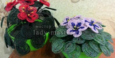Плетение из бисера: фиалка