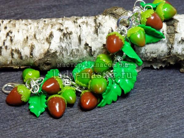 Браслет с лесными орешками (фундук) из полимерной глины, фото