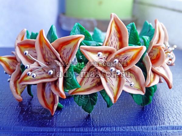 браслет лилия на проволочном каркасе ,фото