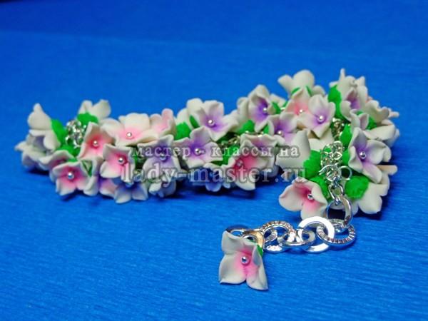 полимерная глина браслет цветы, фото