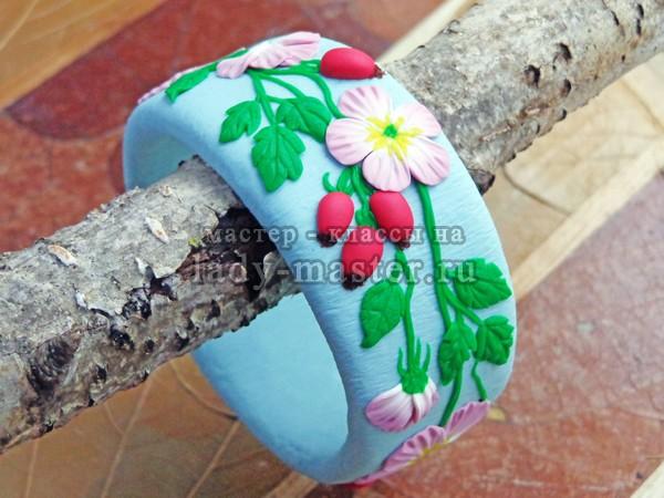 браслет из полимерной глины с цветами, фото