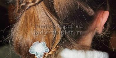 Прическа с элементами плетения «спираль»