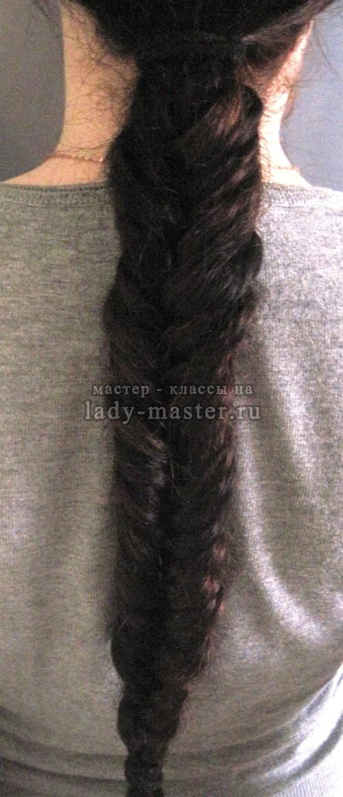 Плетение косы рыбий хвост, фото