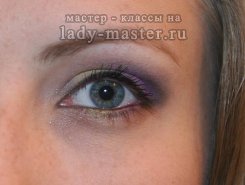 Яркий весенний макияж глаз, мастер - класс, фото