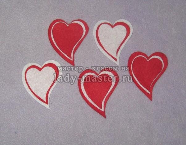 Валентинки из лент своими руками