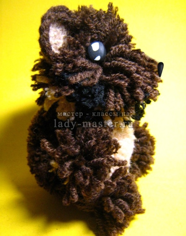 Мишка из помпонов своими руками, мастер - класс, фото