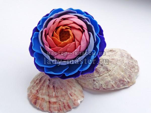 Кольцо из полимерной глины с цветком, мастер - класс, фото