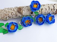Цветочный комплект из полимерной глины. Синие цветы из пластики
