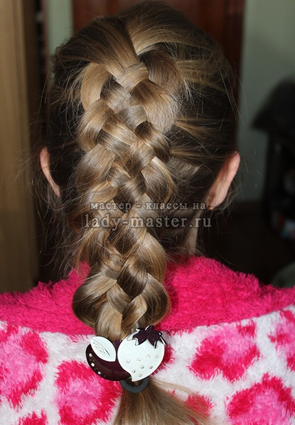 Плетение косы из 5 прядей, мастер - класс, фото