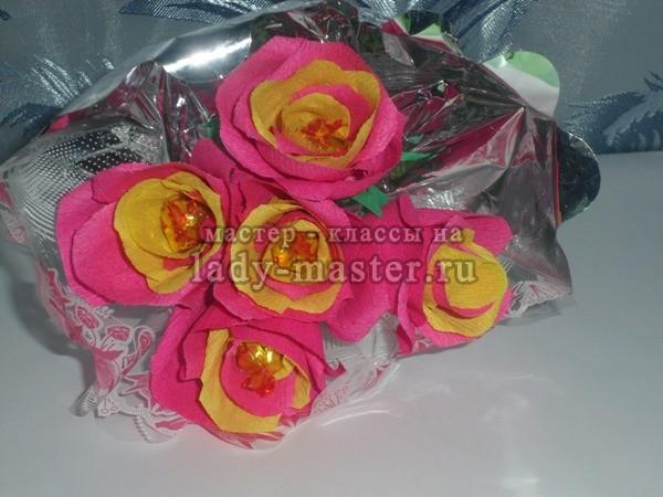 Розы - букет из конфет, мастер - класс, фото