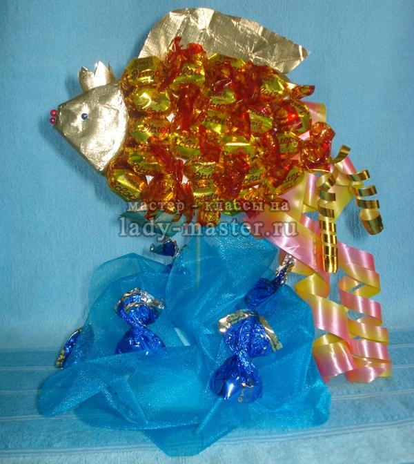Рыбка из конфет своим руками 838