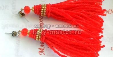 Серьги-кисточки из бисера своими руками