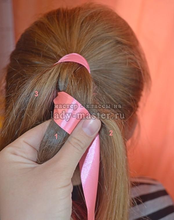 как вплести ленту в косу, фото
