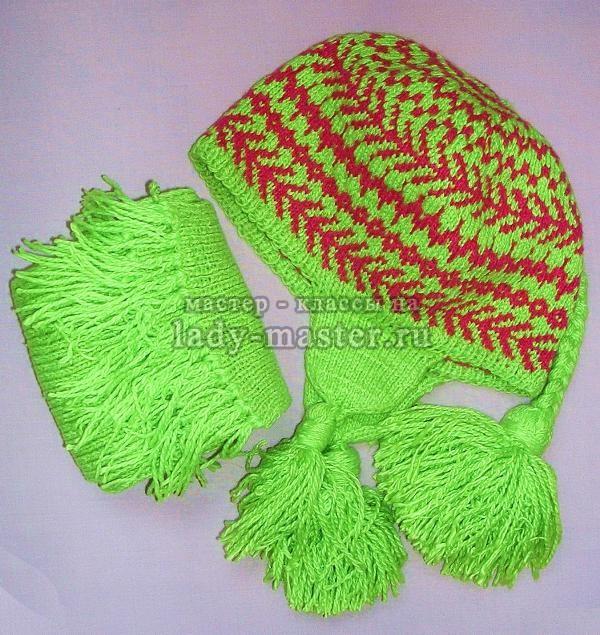 Вязаная финская шапочка с шарфом, фото
