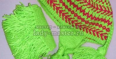 Вязаная финская шапочка с шарфом