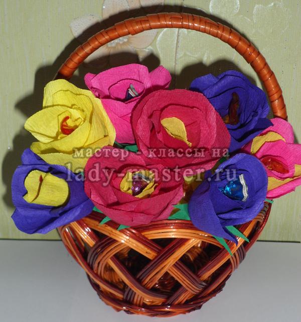 Букет из конфет с розами своими руками, фото