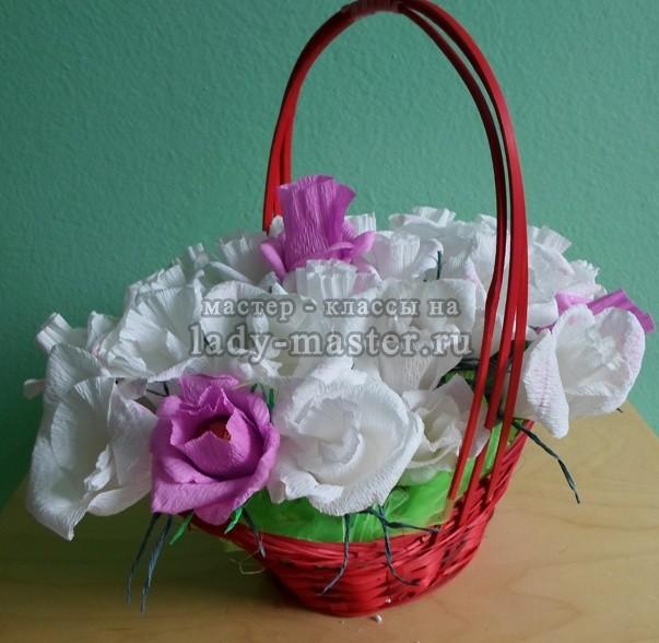 Букет из роз с конфетами, мастер - класс, фото