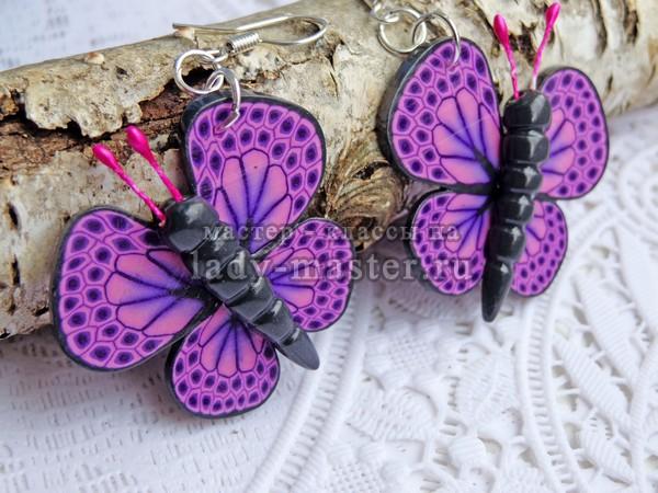 Серьги бабочками из полимерной глины, мастер - класс с фото
