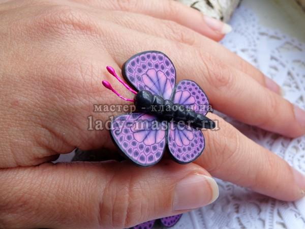 кольцо с бабочками из полимерной глины, мастер - класс с фото